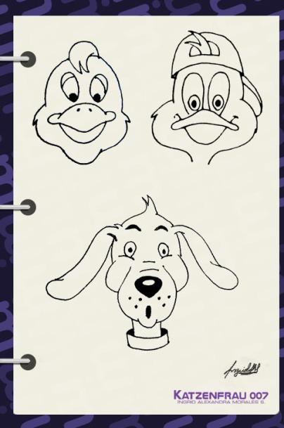 Caricaturas aves y perro