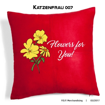 cushion with flowers, cojín ilustración bordado