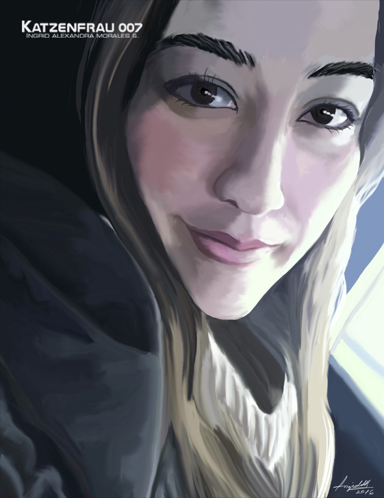 Katzenfrau007 digital portrait young woman