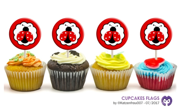ponquecitos con banderines - cupcakes flags by Katzenfrau007