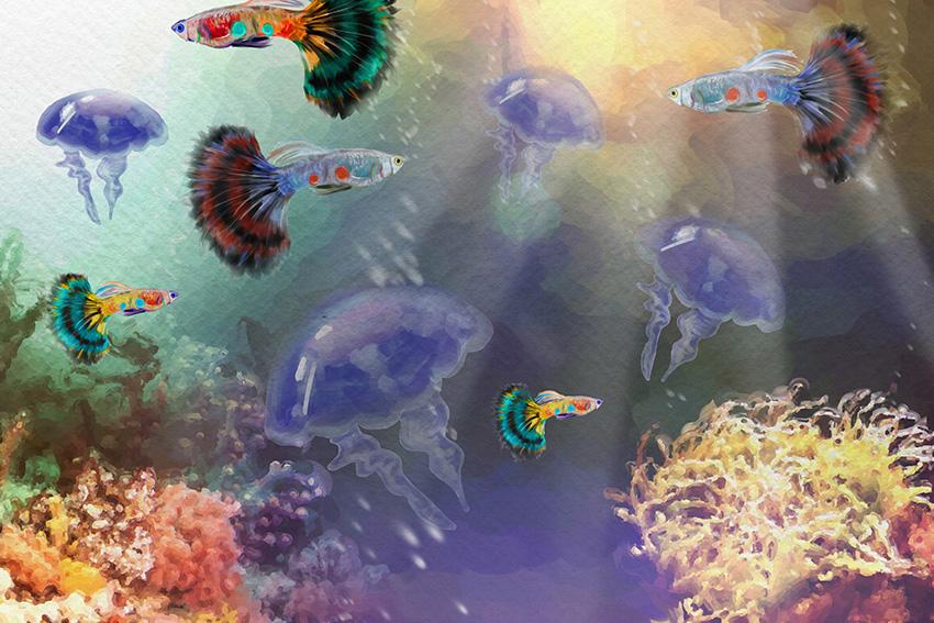Aquatic illustration low resolution by Ingrid Alexandra